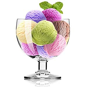 Krosno Europe Non-Lead Crystal-Clear Glass, Simple Ice Cream Dessert Bowl, 350 Ml Set of 6