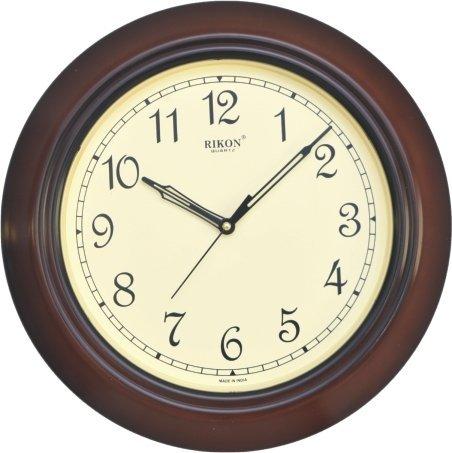 Rikon Quartz Plastic Round Shape 33 cm X 33 cm Fancy Premium Home Decor Wall Clock (Brown Ivory) For Home And Office