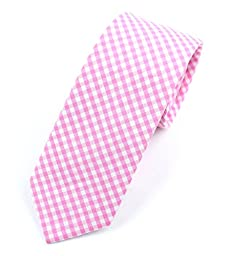 Men\'s Cotton Skinny Necktie Tie Gingham Checkered Pattern - Pink