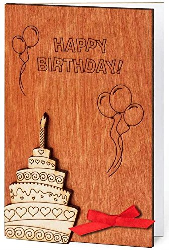 Handmade Sustainable Wooden Happy Birthday Card Birthday Cake with Candle Inside Balloons and Confetti Unique Best Gift Idea
