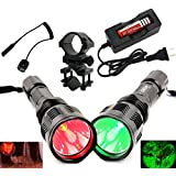 BestFire® Waterproof HS-802 350 Lumens Cree led Flashlight 250 Yard Long Range Hunting Light Cree LED Light Coyote Hog Hunting Light Lamp Torch with Remote Pressure Switch Barrel Mount 18650 Rechargeable battery and Charger Perfect for Hunting Fishing