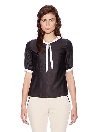 Nife Lockere Bluse mit dekorativem Band am Hals, schwarz, Größe 38***AUSVERKAUF***SALE***