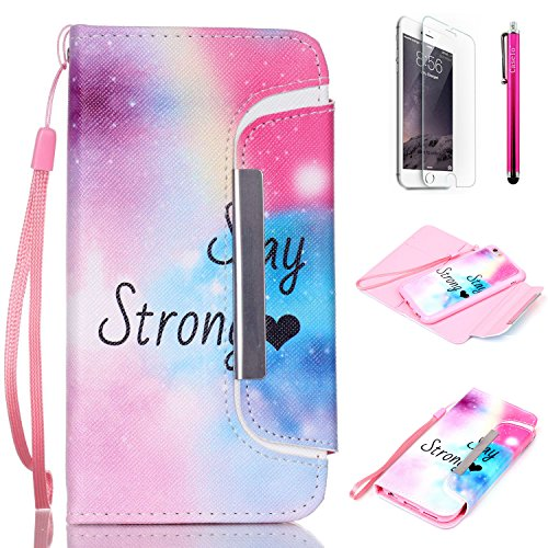 "iPhone 6 Case, JCmax Colorful Foldable [Detachable] PU Leather Wallet Case With [Card Slots][Magnetic][ Wrist Strap] For Apple iPhone 6 (4.7"") [Stay Strong]"