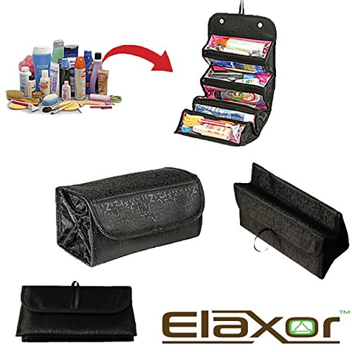 Elaxor™ Multi Functional Waterproof Travel Bag Organizer - Makeup & Toiletry Organizer - Jewelry - Accessories - Electronics - Roll it up and GO - Hanging Rolling 4 Compartments (Giraffe Garment Bag compare prices)
