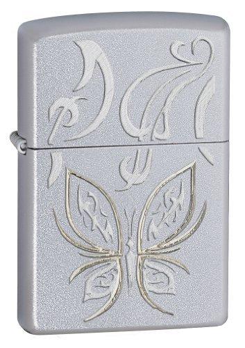 Zippo Golden Butterfly Satin Chrome Lighter
