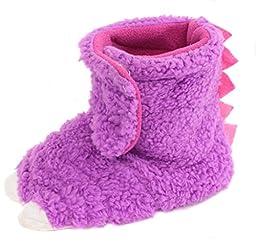 Chatties Unisex Toddler\'s Monster Feet Velcro Slipper Shoes, Purple, Large 9/10