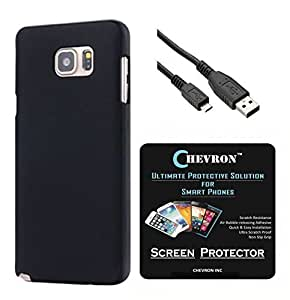 Chevron Rubberized Matte Finish Back Cover Case for Samsung Galaxy Note 5 with HD Screen Guard & Data Cable (Black)