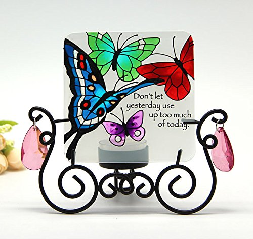 Candle Holder with Hand Painted Art Glass Table Topper Candleware Home Decor Kitchen Decor Spa Decor Office Decor Garden Decor Party Decor Birthday Gift Valentine's Day Gift (Butterfly)