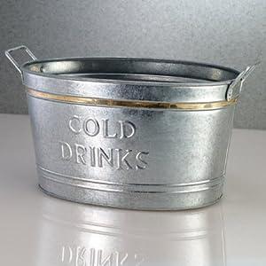 "Galvanized Tin ""COLD DRINKS"" Tub"