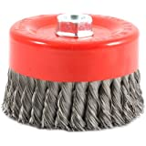 Forney 72756 Wire Cup Brush, Knotted with 5/8-Inch-11 Threaded Arbor, 6-Inch-by-.012-Inch
