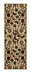 Custom Size BEIGE Floral Rubber Backed Non-Slip Hallway Stair Runner Rug Carpet 22 inch Wide Choose Your Length 22in X 10ft