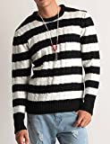 クルーネック ケーブル編み ニット メンズ セーター カラーニット ニットソー 長袖 カジュアル ストリート アメカジ 防寒 秋冬 ブラック×ホワイト(太ボーダー) Mサイズ