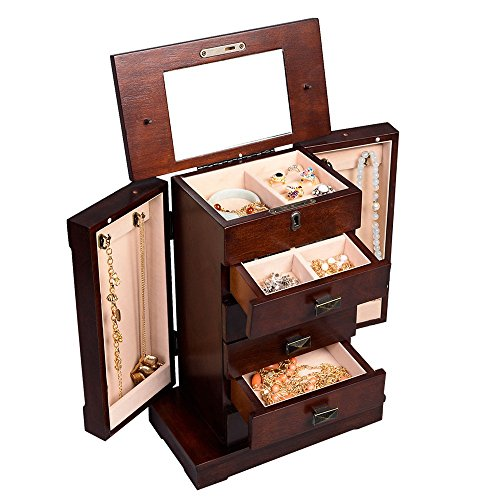 Jewelry Box Cabinet Storage Case Earring Mirror Chest Stand Organizer Durable Wood And Key (Extra Large Dresser compare prices)