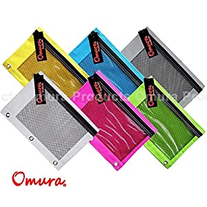 OMURA Bright Color 3 - Ring Pencil Pouch w/ Mesh Window, 6 PCS