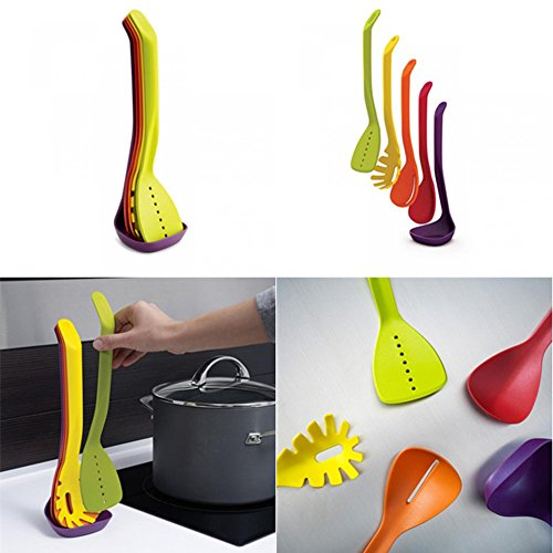 LIKECAR Nylon Set de 5 Ustensiles de Cuisine Couteaux et Ecumoires Cuillères Spatules et Palettes couleur au hasard
