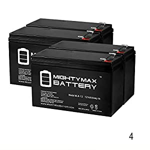 12V 8Ah for Smart-UPS SC 1500VA 12V-2U Rackmount-Tower SC1500 - 4 Pack - Mighty Max Battery brand product