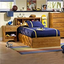 Big Sale South Shore Amesbury Kids Twin Wood Captain's Bed 3 Piece Bedroom Set in Country Pine