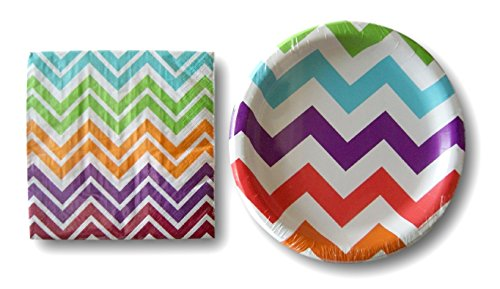 Birthday Party Supplies Multi-color Chevron Pattern - Napkins Plates