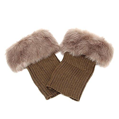 Butterme Faux Fur Leg accessori calze stivali invernali donne Scaldamuscoli Knit Stivali Calze Topper Cuff (Cachi)
