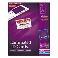 Laminated Laser/Inkjet ID Cards, 2 x 3 1/4, White, 30/Box
