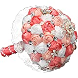 Lace Satin Brooch Wedding Bouquet For Bridal Holding Flowers Coral Pink White