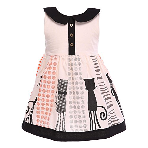 wallcart Girls Kids Cat Sleeveless Lapel Party Cute Doll Collar Formal Dress 2-7Y