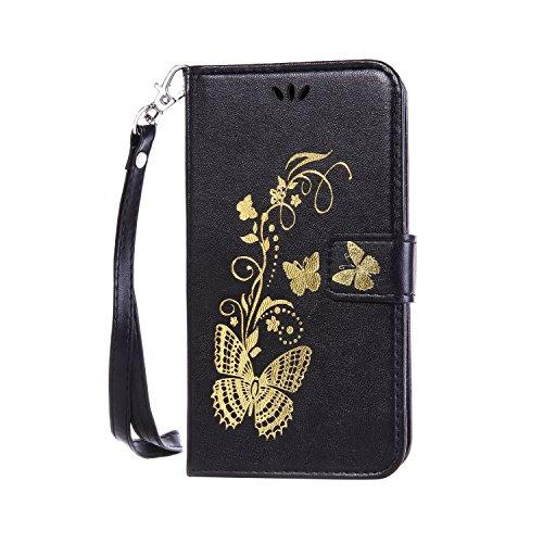 Ecoway Schutzhülle / Cover / Handyhülle / Etui für LG Nexus 5X Bräunung Goldschmetterling Muster Design Folio PU Leder Tasche Case Hülle im Bookstyle mit Standfunktion Kredit Kartenfächer - schwarz Bronzing