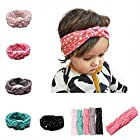 Lovinglove Baby Girls Cotton Turban Headbands (5 Pieces Dot Knotted Turban)