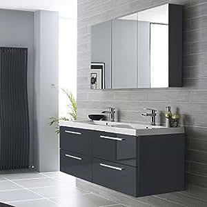ensemble de meubles de salle de bain nogara design moderne gris laqu meuble 4 tiroirs. Black Bedroom Furniture Sets. Home Design Ideas