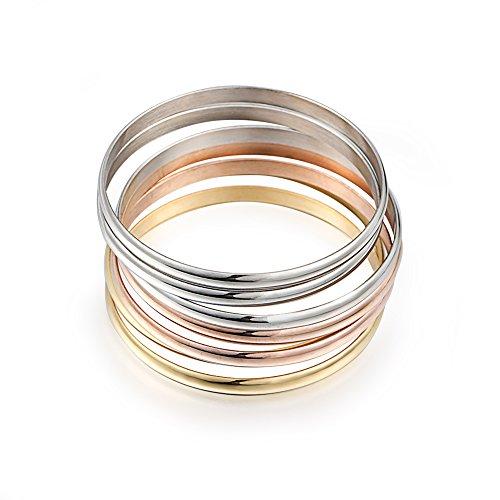 Women's Set of 7 Tri-color Silver/ Gold / Rose Gold Stainless Steel Bracelet Bangle Set 8.4 Inch (Bangle Bracelet Stainless Steel compare prices)