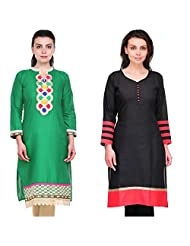 Cenizas Women's Cotton Black Kurtas Pack Of 2 ( 2138GRN & 2142BLK)