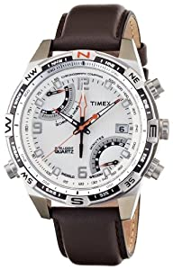 Timex Intelligent Quartz Flyback Chronograph Compass Cream Dial Brown Leather Strap T49866 Men