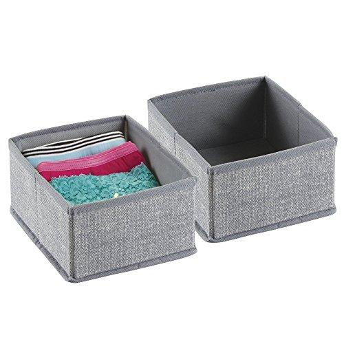 mDesign-Aufbewahrungsbox-aus-Stoff-fr-Schrank-oder-Kommodenschubladen-fr-Unterwsche-Socken-BHs-Strumpfhosen-Leggings-2er-Set-Klein-Grau