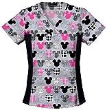 Tooniforms 6875C Women's Disney Cotton Flexibles Print Scrub Top Mickey 5X-Large