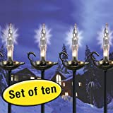 Set of 10 Outdoor Holiday Candle Stick Path Driveway Lights with Ground Stakes
