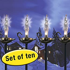 holiday candle stick path driveway lights with ground stakes string. Black Bedroom Furniture Sets. Home Design Ideas