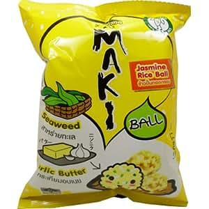 Jasmine Rice Ball Cracker Garlic Butter Flavor Snack with Seaweed on