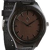 Wood Grain Handmade Mens Black Sandalwood Natural Wooden Watch - Genuine Brown Leather Band