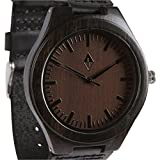 Wood Grain Handmade Mens Black Sandalwood Natural Wooden Watch – Genuine Brown Leather Band