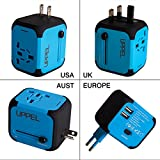 Worldwide Travel Adapter Uppel All-in-one Worldwide Travel Adapter for US EU UK AU about 150 countries Wall Universal Power Plug Adapter Charger with Dual USB and Safety Fuse(Blue)