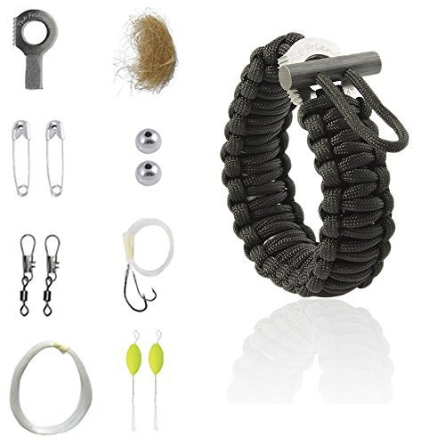 The Friendly Swede Multi-purpose Paracord Bracelet Survival Kit for Preppers (Black)