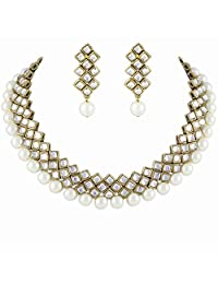 Designer Kundan Choker Traditional Jewellery Set In White Color For Women By Shining Diva