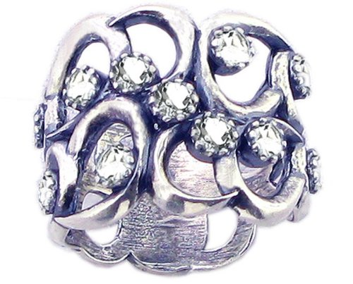 Sterling Silver Wavy Openwork Right Hand Ring with Round Genuine Gems-White Topaz-in full,half,quarter sizes from 5 to 9_6.5