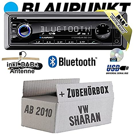 VW Sharan 2 7N - BLAUPUNKT Stockholm 230 DAB - DAB+/CD/MP3/USB Autoradio inkl. Bluetooth - Einbauset