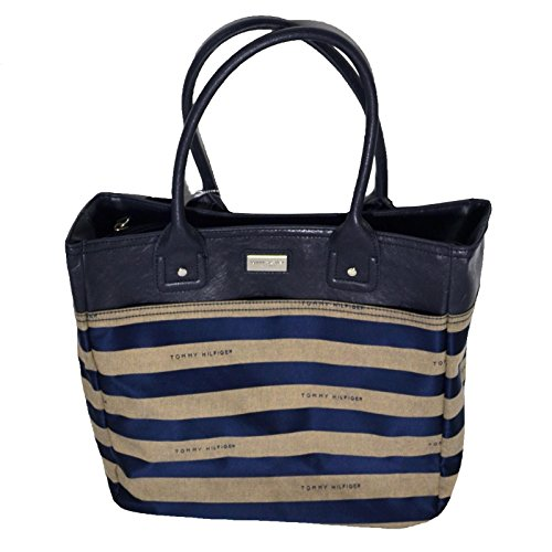 Tommy Hilfiger Large Handbag Navy and Taupe Striped Purse