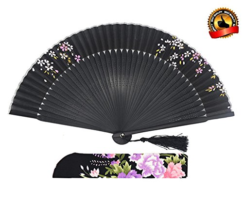 LYSA® High Quality Women Hand Held Silk Folding Fan With,and Silk Tissue Protective Sleeve --- China/Japan Style of