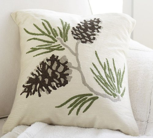 Pinecone Crewel Pillow Cover (18X18)