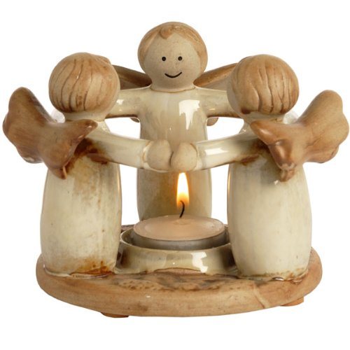 Tea Light Holder - Ceramic Circle of Angels