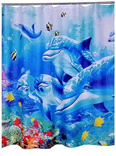 Dolphin Printed Waterproof Shower Curtain