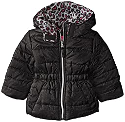 Pink Platinum Baby Girls\' Metallic Fabric Puffer, Black, 12 Months